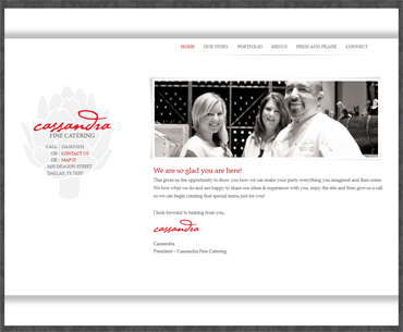 Cassandra Fine Catering website.