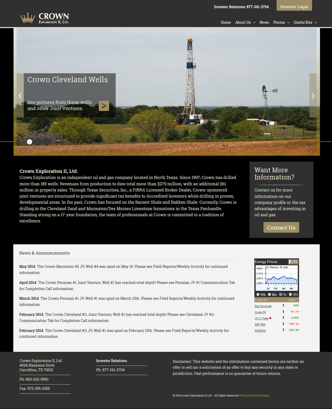 We developed Crown Exploration's new website based on Black Lab Creative's design.