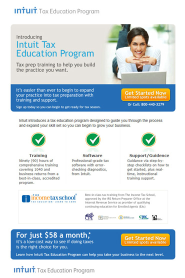 Intuit Tax Education Program email
