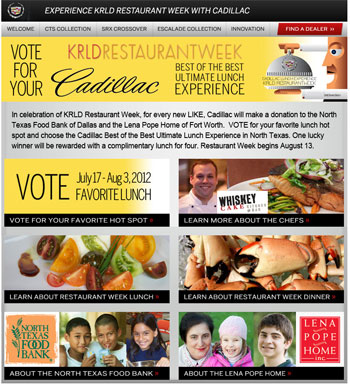 Facebook App for KRLD Restaurant Week Best of the Best Ultimate Lunch Experience with Cadillac